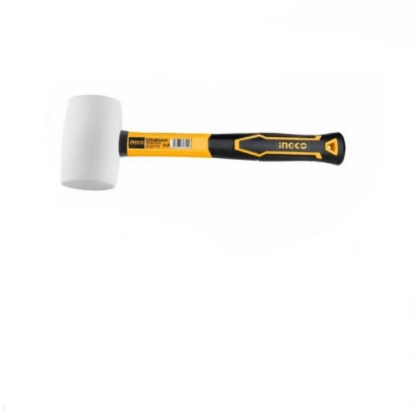 Ciocan cauciuc moale, alb, maner fibra 450g 0