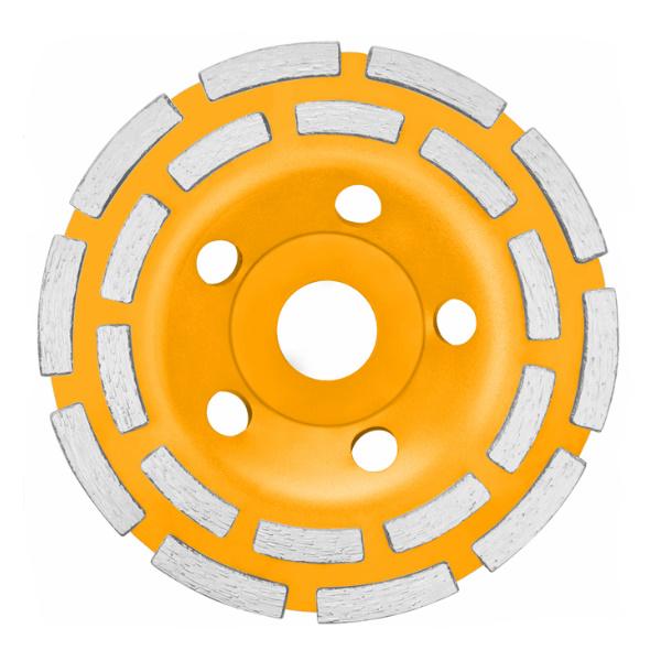 Disc diamantat 125 mm, cu 2 randuri segmente pentru slefuit suprafete beton, mozaic, marmura - INGCO  CGW021251 0