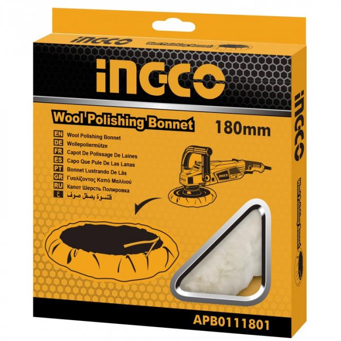 Boneta, disc polish blana naturala, 180mm - INGCO APB0111801 [2]