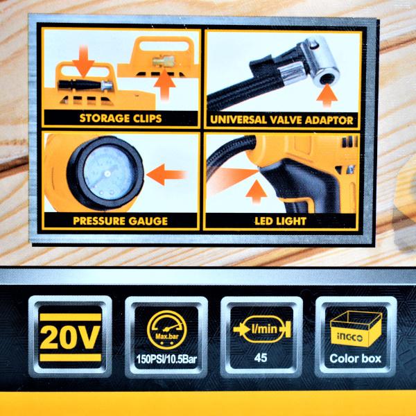 Compresor auto 20V, pe acumulator, 10bar - INGCO CACLI2001 2