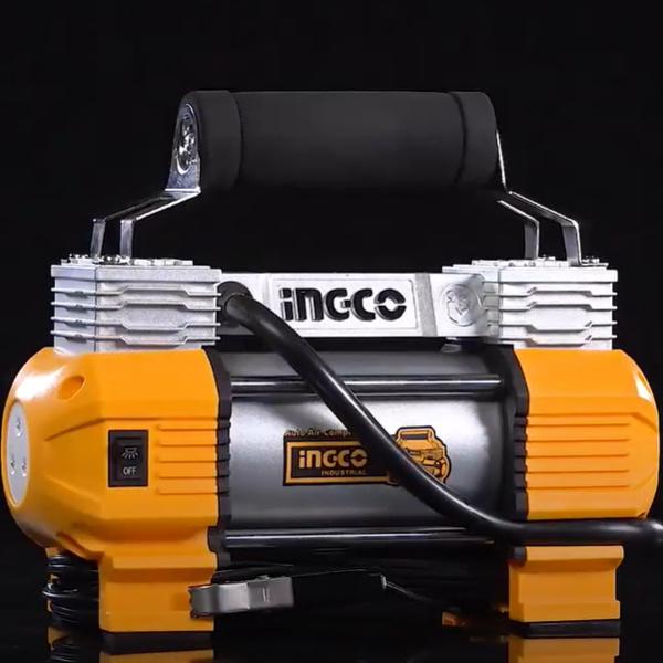 Compresor auto cu 2 cilindri, accesorii si geanta incluse - INGCO AAC2508 5