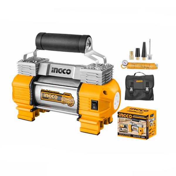 Compresor auto cu 2 cilindri, accesorii si geanta incluse - INGCO AAC2508 1