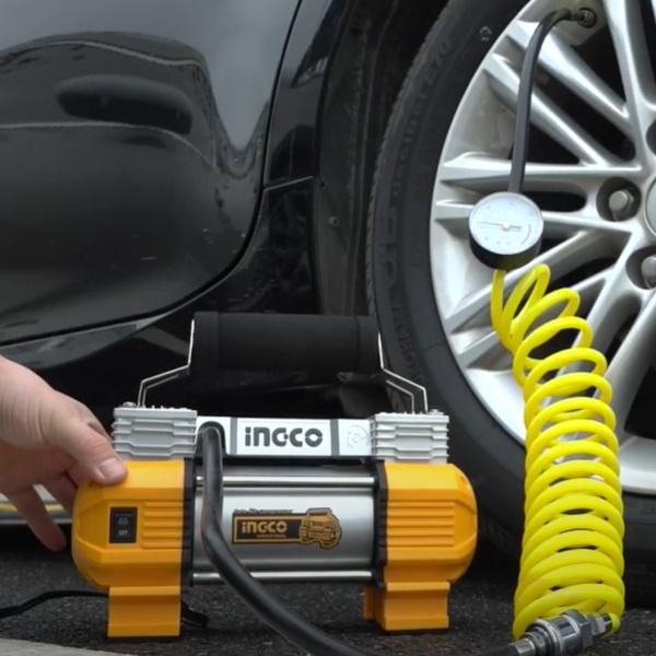 Compresor auto cu 2 cilindri, accesorii si geanta incluse - INGCO AAC2508 4