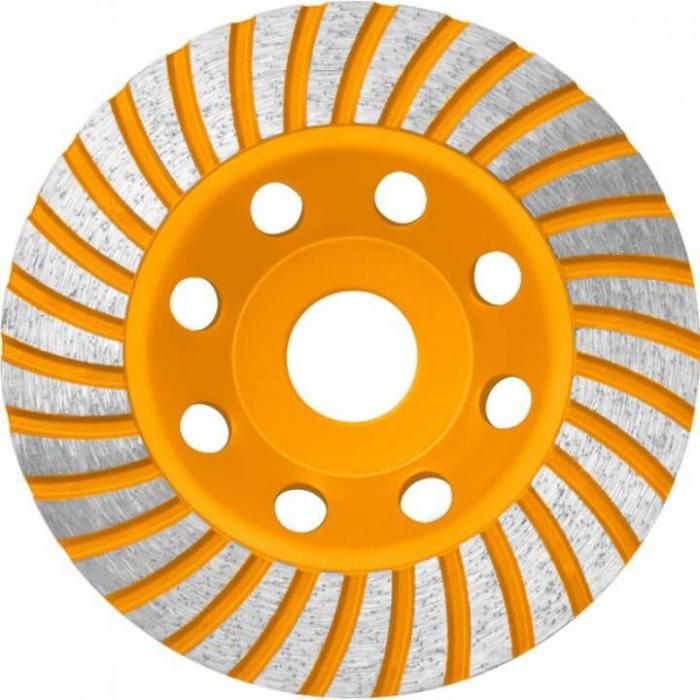 Disc diamantat 125 mm, cu segmente pentru slefuit suprafete beton, mozaic, marmura, Turbo - INGCO CGW011251 [0]