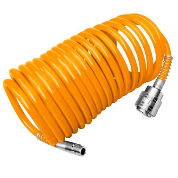 Furtun compresor spiralat 8 x 5 mm, lungime 5 m, cuplaje rapide - INGCO AH1051 0