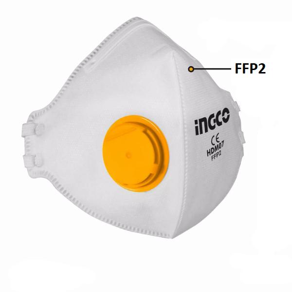 Masca de protectie FFP2 cu 4 straturi si supapa - INGCO HDM07 [1]