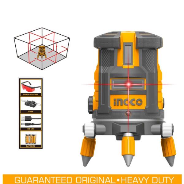 Nivela laser multi-linie, o linie orizontala, 4 linii verticale si punct de plumb vertical, rotativ - INGCO HLL306505 0
