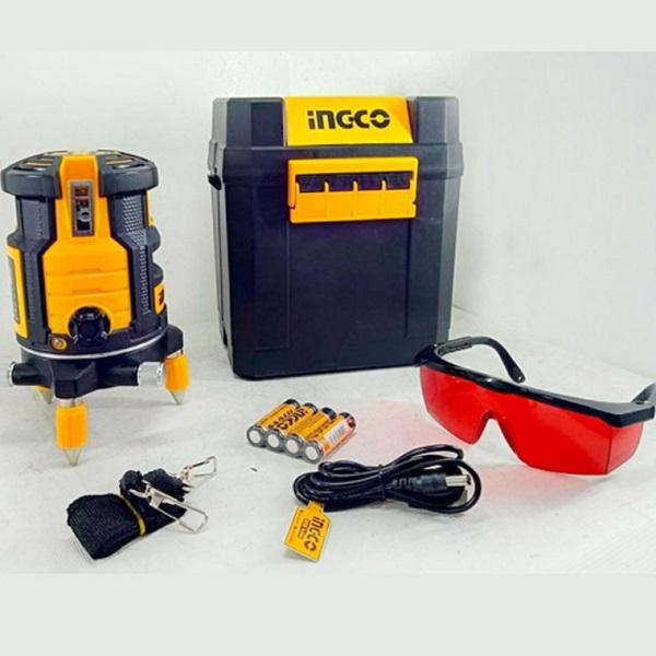 Nivela laser multi-linie, o linie orizontala, 4 linii verticale si punct de plumb vertical, rotativ - INGCO HLL306505 1
