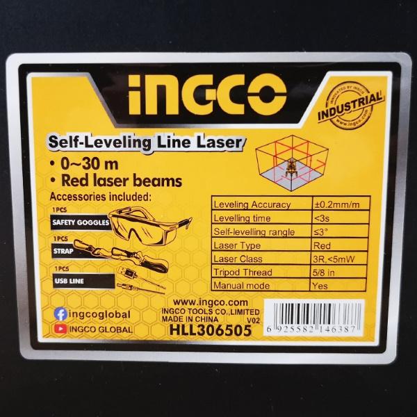 Nivela laser multi-linie, o linie orizontala, 4 linii verticale si punct de plumb vertical, rotativ - INGCO HLL306505 3