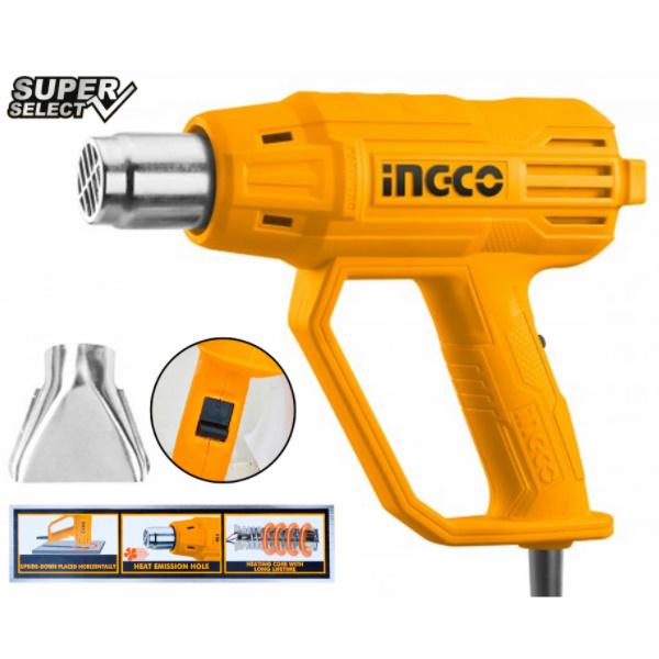 Pistol cu aer cald 2000w, 480 ° C  560 ° C - INGCO HG200038 2