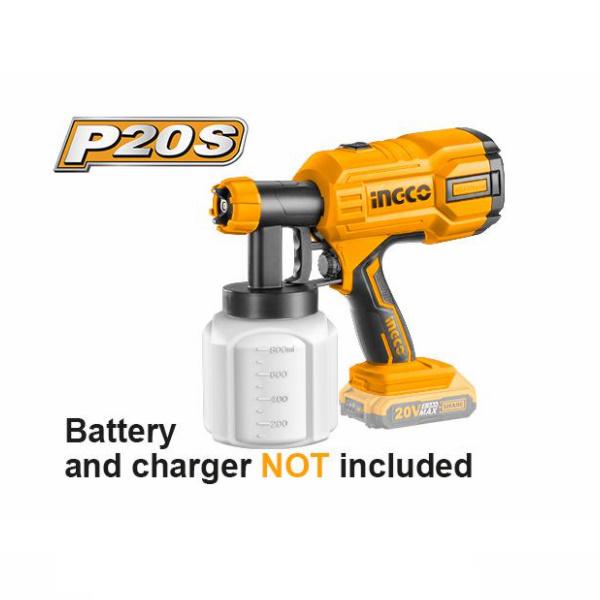 Pistol electric de vopsit pe acumulator, 20V - INGCO CSGLI2001 1