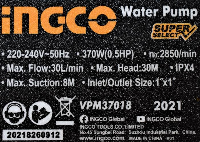 Pompa apa suprafata de adancime (hidrofor), 370w, 30 lmin - INGCO VPM37018 [1]