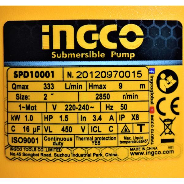 Pompa submersibila apa curata, murdara, 1000w, 333L, motor cupru - INGCO SPD10001 5