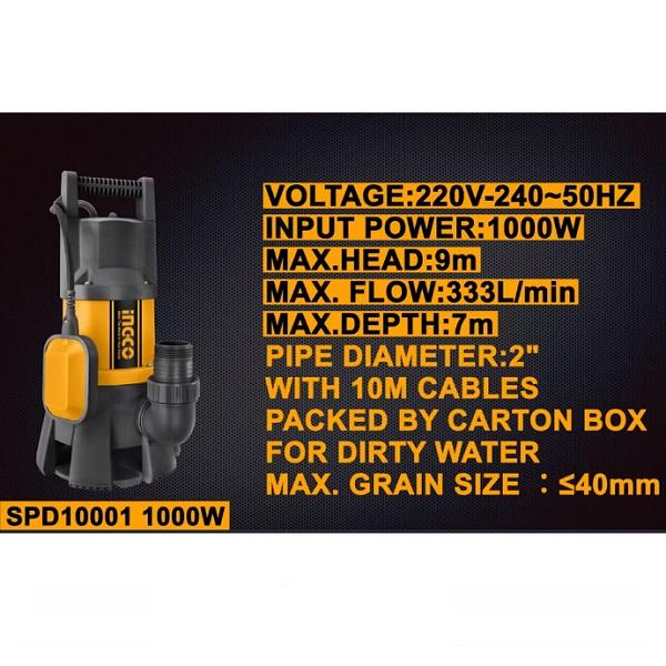 Pompa submersibila apa curata, murdara, 1000w, 333L, motor cupru - INGCO SPD10001 3