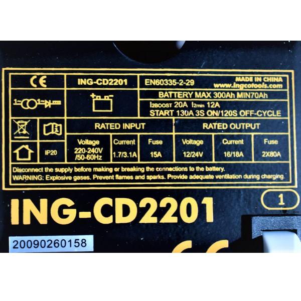 Robot pornire, incarcator, redresor baterie auto 12-24V - INGCO ING-CD2201 1