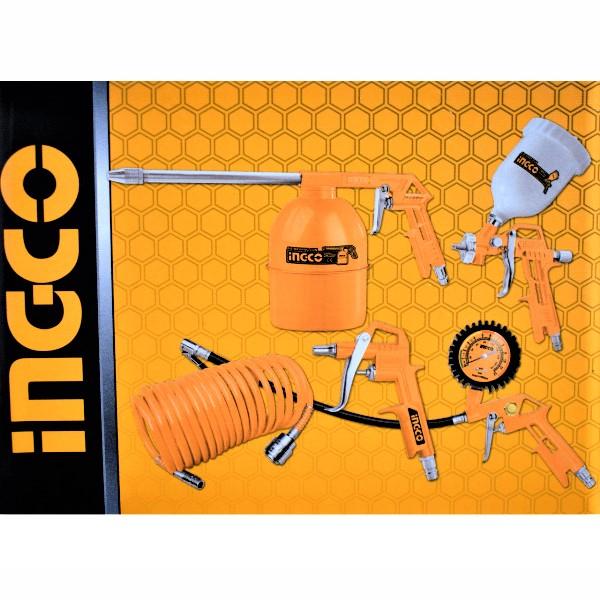Set accesorii aer comprimat, vopsit, suflat, pistol cu vas sus - INGCO AKT0053 1