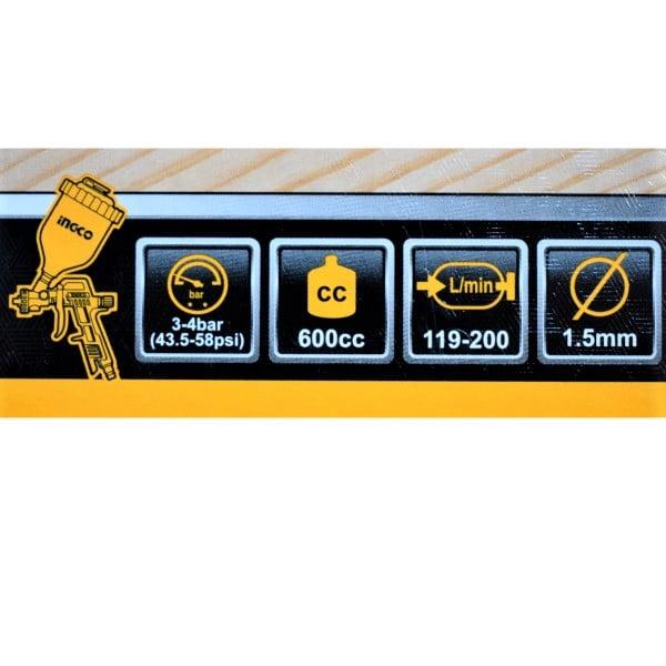 Set accesorii aer comprimat, vopsit, suflat, pistol cu vas sus - INGCO AKT0053 6