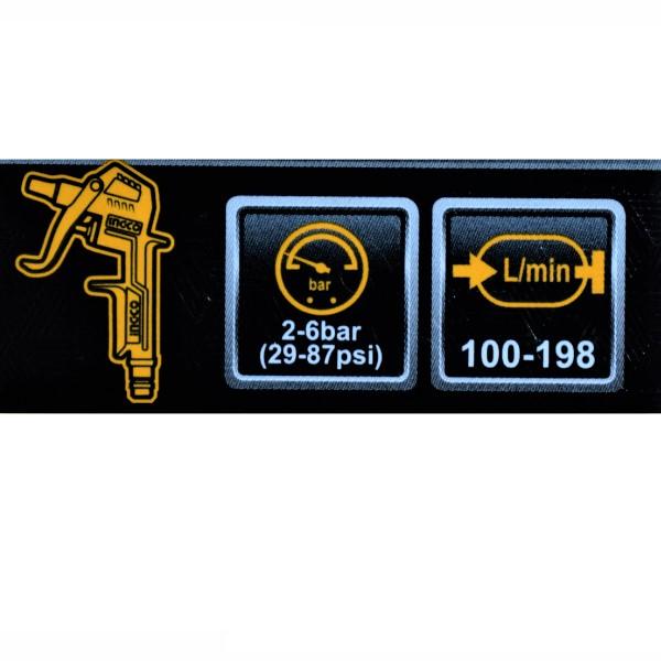 Set accesorii aer comprimat, vopsit, suflat, pistol cu vas sus - INGCO AKT0053 3