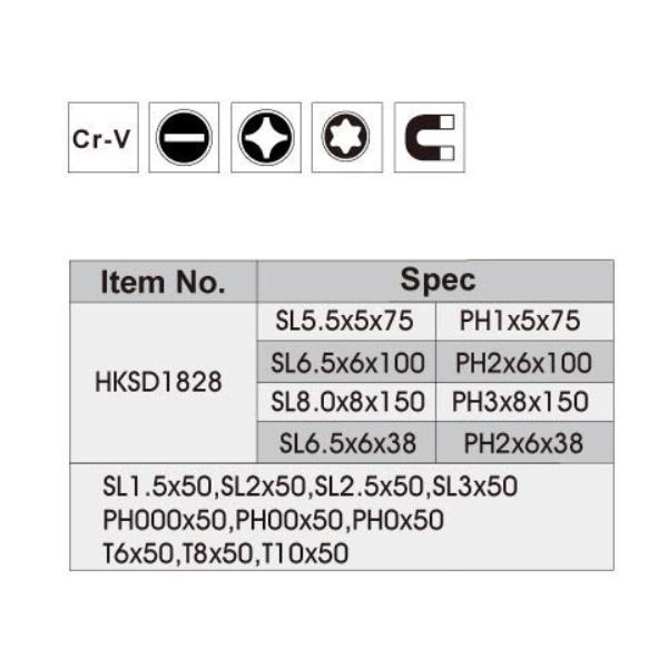 Set de 18 surubelnite cu suport, din otel cu cap magnetizat si maner cauciucat - INGCO HKSD1828 1