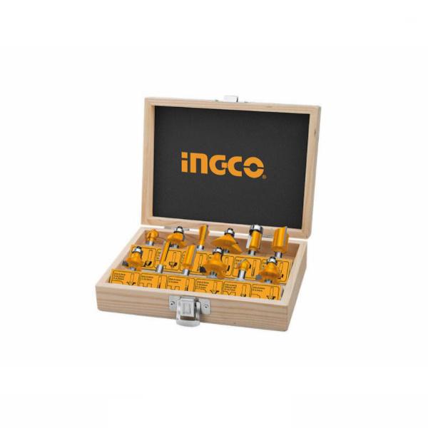 Trusa freze lemn, tija 8 mm, 12 piese, oberfreza - INGCO AKRT1211 0