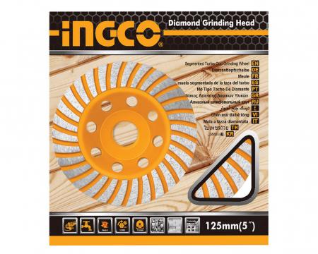 Disc diamantat 125 mm, cu segmente pentru slefuit suprafete beton, mozaic, marmura, Turbo - INGCO CGW011251 [1]