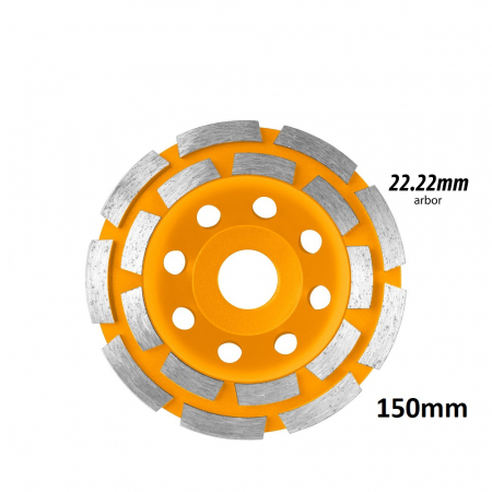 Disc diamantat 150 mm, cu 2 randuri segmente pentru slefuit suprafete beton, mozaic, marmura [1]