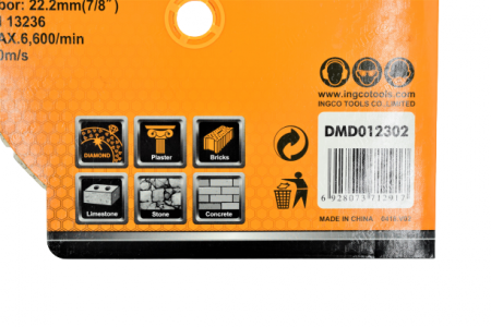 Disc diamantat intrerupt 230mm x 7,5mm - INGCO DMD012302 [2]