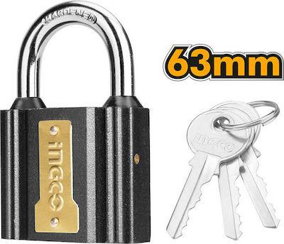 Lacat 63mm cu protectie la ploaie + 3 chei, 500g - INGCO DIPL0601 [0]