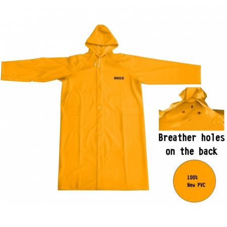 Pelerina ploaie, PVC, galben cu banda reflectorizanta - INGCO HRCTL031 [0]