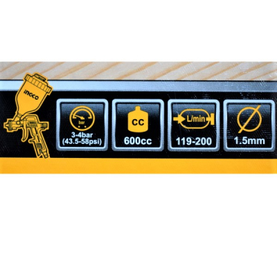 Set accesorii aer comprimat, vopsit, suflat, pistol cu vas sus - INGCO AKT0053 [6]