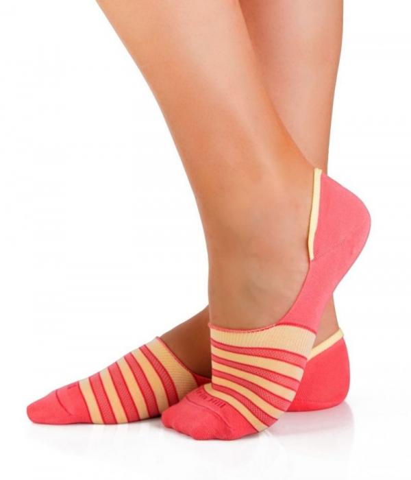 Sosete bumbac organice tip balerini Yellow Pink [0]