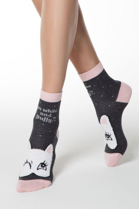 Șosete bumbac haioase cu model pisică fluffy [0]