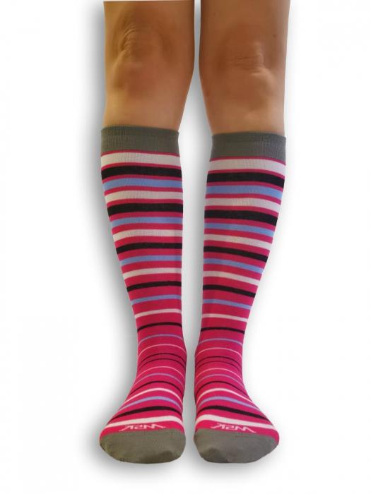 Sosete bumbac lungi Knee High roz cu gri [0]