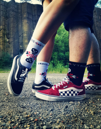 Sosete bumbac Dirty Socks black/red [2]