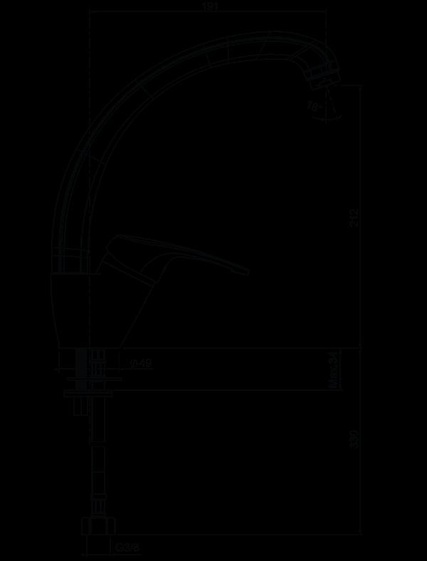 Dimensiuni baterie de bucatarie monocomanda Fat 08910