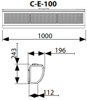 Dimensiuni perdea de aer electrica Flowair ELiS C-E-100