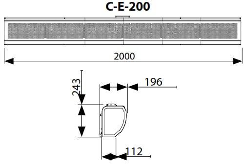 Dimensiuni perdea de aer electrica Flowair C-E-200