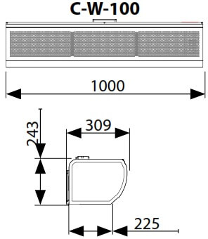 Dimensiuni perdea de aer pe agent termic Flowair C-W-100