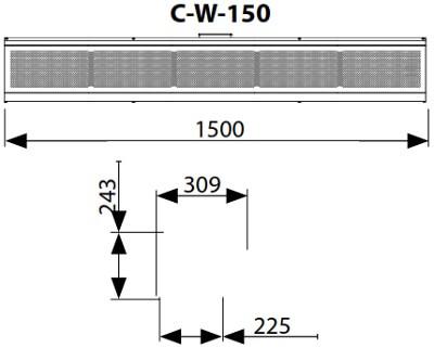 Dimensiuni perdea de aer cu agent termic Flowair ELiS C-W-150