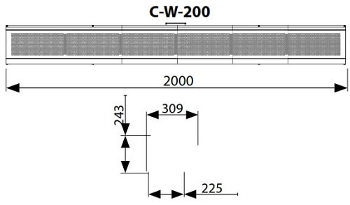 Dimensiuni perdea de aer cu agent termic Flowair C-W-200