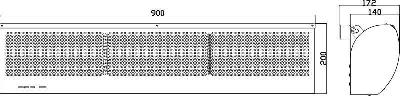 Dimensiuni perdea de aer Flowair Mini E-90