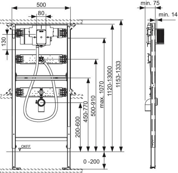 Cadru urinal incastrat Tece cu actionare electronica 1