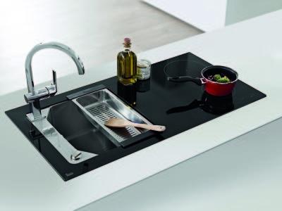 Chiuveta din inox si sticla securizata de culoare neagra + plita electrica integrata Teka Compact Lux 1000.520 1B 2I 1