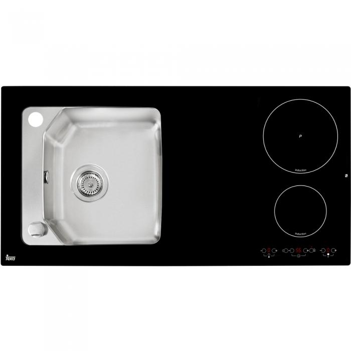 Chiuveta din inox si sticla securizata de culoare neagra + plita electrica integrata Teka Compact Lux 1000.520 1B 2I 0