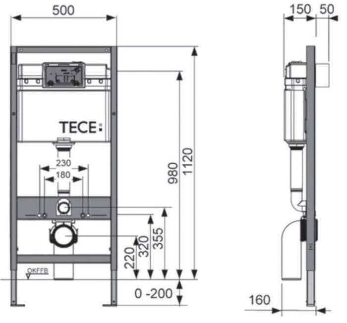 Rezervor WC Tece Base cu cadru ingropat si clapeta 2