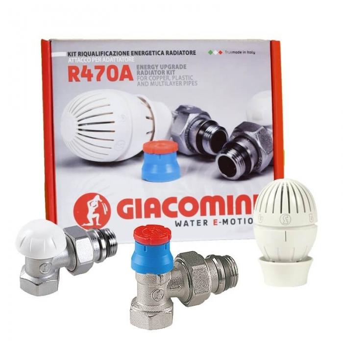 "Set robineti coltar, tur-retur cu cap termostatat Giacomini R470FX003, 1/2"" [1]"