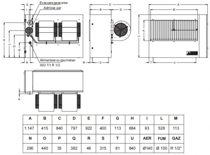 Aeroterma cu gaz Accoroni MEC 50 kW 1