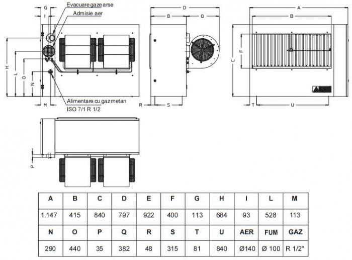 Aeroterma cu gaz Accoroni MEC 57 kW 1