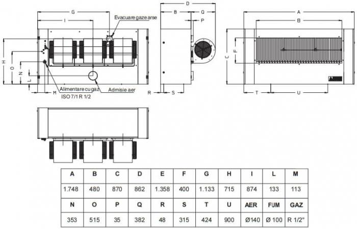 Aeroterma cu gaz Accoroni MEC 85 kW 1