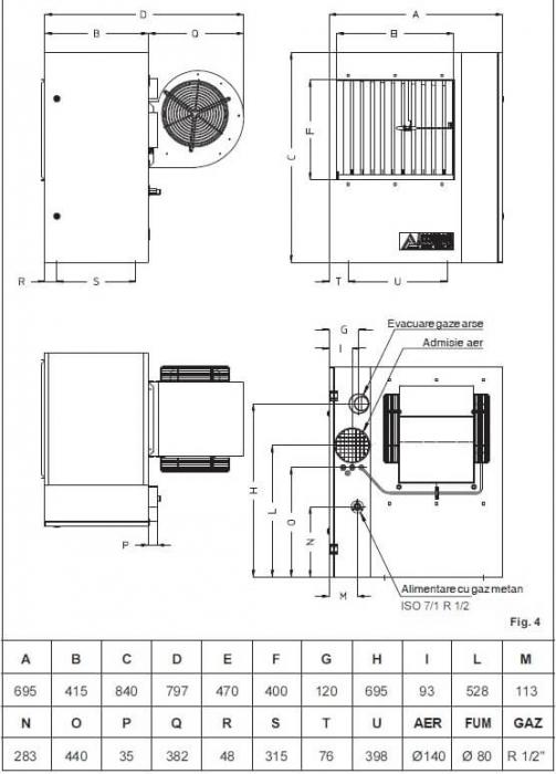 Aeroterma cu gaz pentru tubulatura Accoroni MEC 57C 1